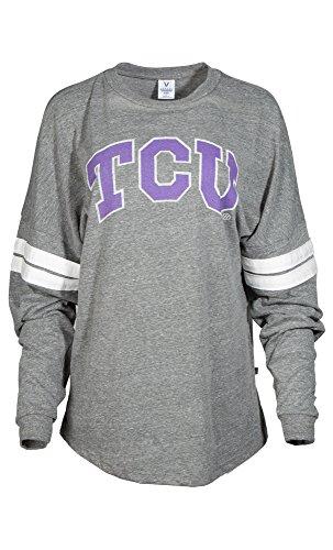 NCAA TCU Horned Frogs Betty Long Sleeve Tri-Blend Football Jersey T-Shirt, Medium, Tri Grey/White -