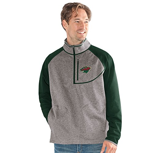 - G-III Sports NHL Minnesota Wild Men's Mountain Trail Half Zip Pullover, Large, Gray