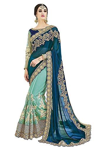 (indian traditional designer georgette paper silk pallu saree with banglori silk unstichh blouse)