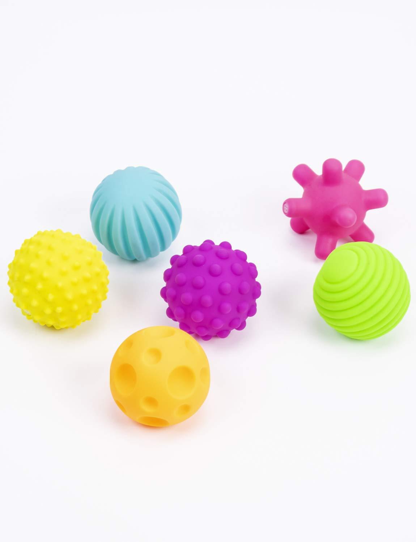 Coolle Sensory Touch Plusieurs Ballons de Perception bébé Texture Jouet Balle de Massage pour Enfants avec Couleurs Vives et Sons BB Ensemble de 6