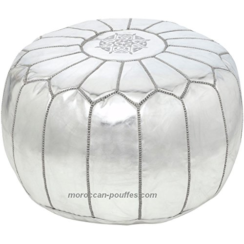 moroccan poufs leather luxury ottomans footstools silver unstuffed by moroccan poufs