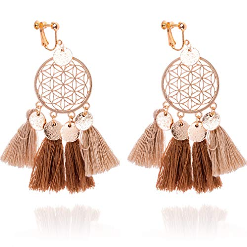 Tassel Clip on Earrings Dream Catcher for Women Girls Bohemian Drop Dangle Long Thread Boho Fringe Brown