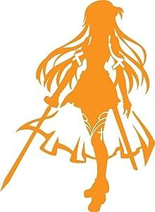 "Sword Art Online Anime - Asuna Yuuki - Vinyl 5"" tall (Color: ORANGE) decal laptop tablet skateboard car windows stickers - by So Cool Stuff"