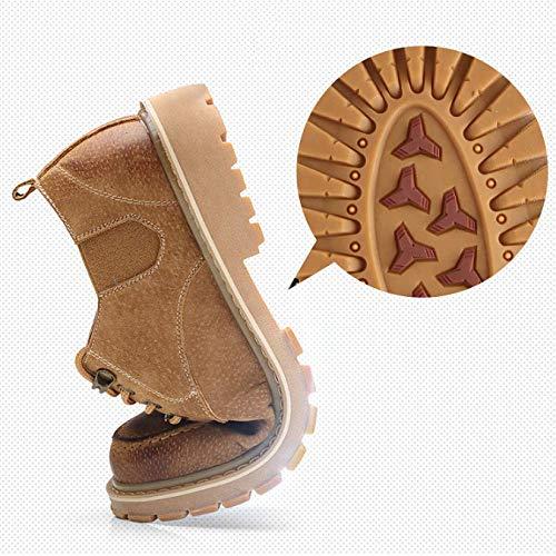 Amarillo Zapatos Hombre Cuero Retro Lyzgf Martin Moda Casual Invierno Herramientas Yellow De fqTFFvw1