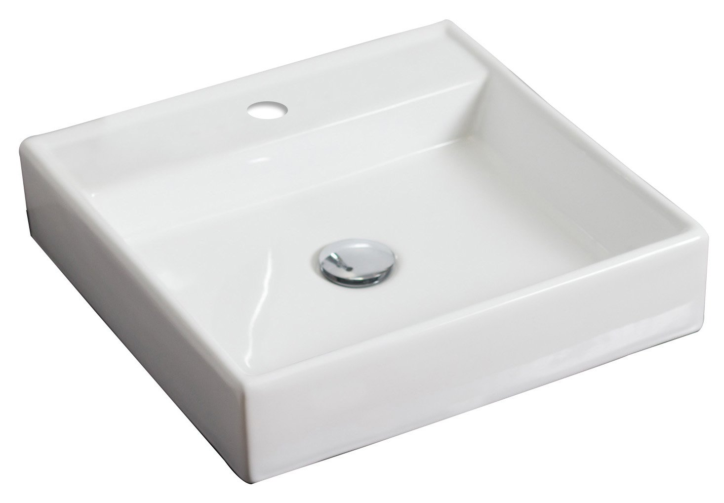 17.5-in. W x 17.5-in. D Above Counter Square Vessel In White Color For Single Hole Faucet IMG Imports Inc. AI-3-1306