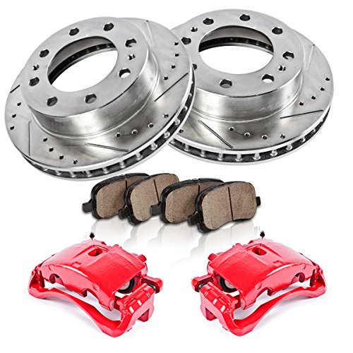 Red [2] Calipers + [2] Rotors + Quiet Low Dust [4] Ceramic Pads Performance Kit ()