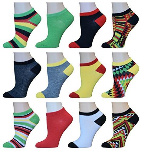 Yung & Phree Womens No Show Summer Socks Casual Bright Fun Fashion Patterns - 12 (Teen Girls Stockings)
