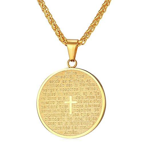 U7 Christain Cross Lord's Prayer Round Medal Pendant Necklace 18K Gold Plated Catholic (Catholic Pendant Necklace)