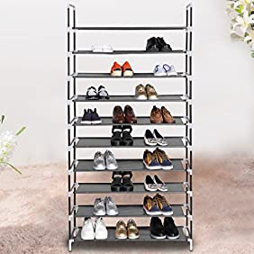10 Tiers Shoe Rack Easy Assembled Fabric Shoe Tower Stand Sturdy Shelf Storage Organizer Cabinet Entryway Closet[US STOCK] (Black+Black)