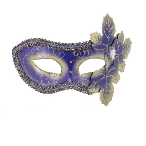 Forum Mardi Gras Costume Masquerade Venetian Half Mask With Leaves and Glitter, Purple/Gold, One (Purple Masquerade Dresses)