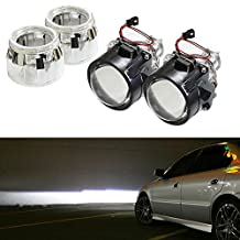 "iJDMTOY (2) 2.5"" Mini H1 Bulb Size Bi-Xenon HID Projector Lens with Shroud For Headlight Retrofit DIY Use"