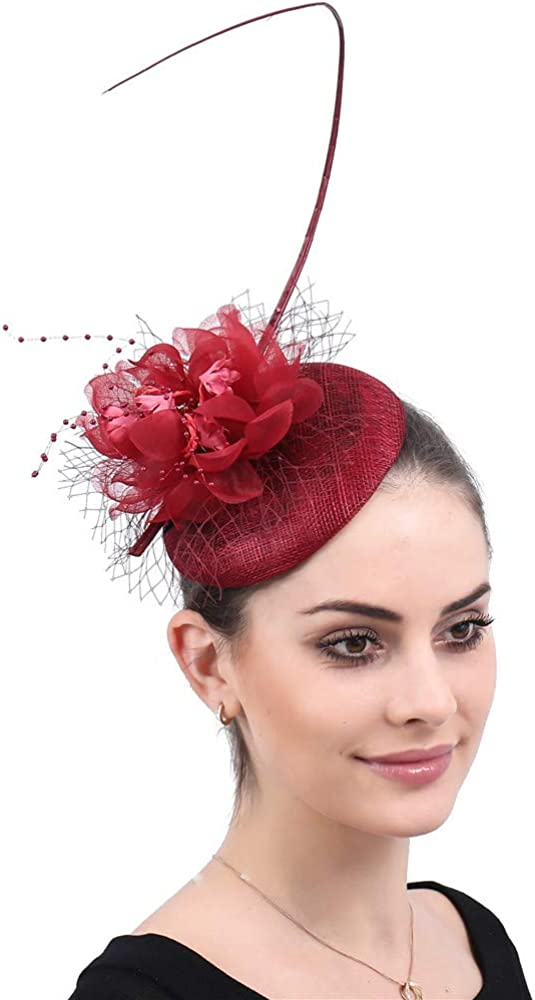 YONQUIL Wine red Hair Accessories with Headband Women Church Flower Fascinator SYF495