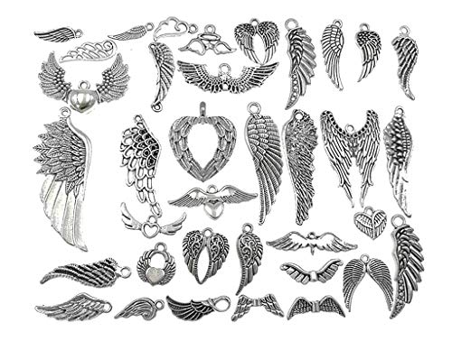 (Kinteshun Assorted Angel Wings Feathers Punk Charm Pendant Connector for DIY Jewelry Making Accessaries(36pcs,Antique Silver Tone))