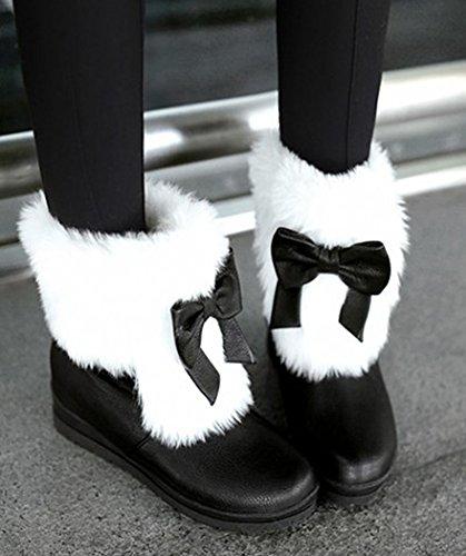 Aisun Donna Caldo Confortevole Carino Punta Tonda Suola Spessa Piattaforma Piattaforma Slip On Flat Ankle Snow Boots Stivaletti Scarpe Con Fiocchi Neri