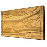 Large Olive Wood Cutting Board - 16''x8'' Thick, Strong, Reversible Olive Wood Cutting Board with Drip Groove - Use for chopping, carving, and presentation - Handmade in Tunisia and each piece is unique