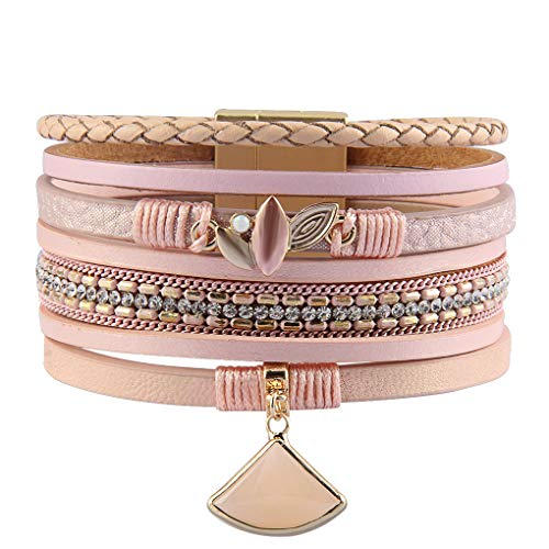 XiaoMtou Multilayer Leather Bracelet Agate Cuff Wrap Bracelets Handmade Braided Bangle Jewelry for Women (Pink) ()