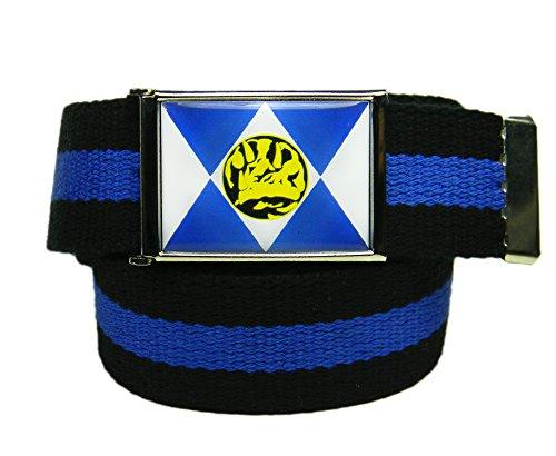 Build A Belt Blue Ranger Flip Top Men's Belt Buckle with Canvas Web Belt XX-Large Black and Blue Stripe -