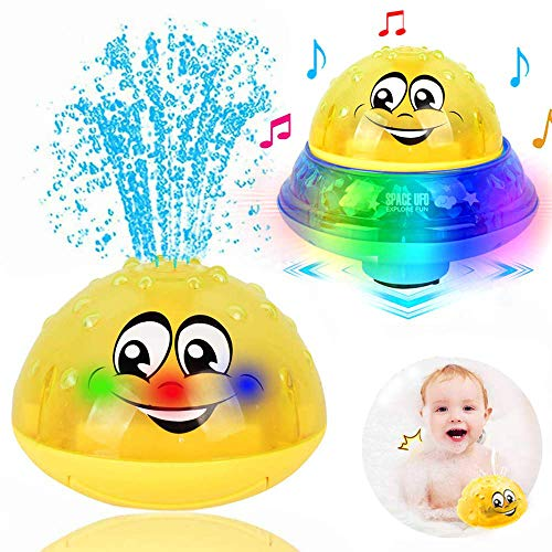 ZHENDUO Bath Toys, 2 in 1 Induction Spray Water Toy & Space UFO Car Toys with LED Light Musical Fountain Toy Automatic Induction Sprinkler Bath Toy Bathtub Toys for Toddlers