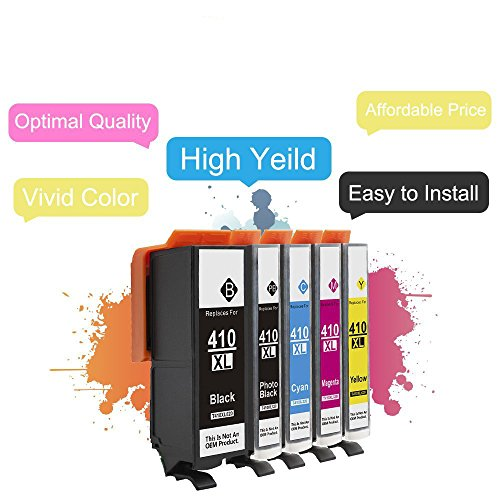 Karl Aiken Remanufactured Ink Cartridges High Capacity Replacement for 410 (1x Black, 1x Photo Black, 1x Yellow, 1x Cyan, 1x magenta, 5- Pack) Photo #4