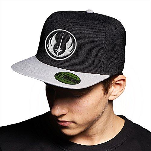 Jedi Star Wars Black Grey Cap Original Gorra Snapback Unisex, Ajustable, con Visera Plana y Logotipo Urbano Bordado.