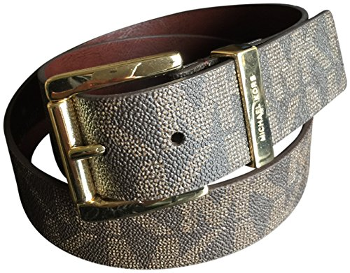 Michael Kors Women's Wide Monogram Logo Gold Buckle Belt Brown Small (Michael Kors Brown Belt)