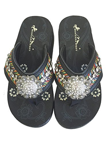 Montana West Ladies Wedged Flip Flops Embroidered Design Floral Concho Black, 10 M US