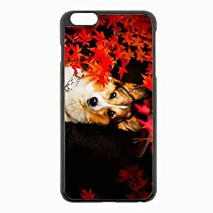 iPhone 6 Plus Black Hardshell Case 5.5inch - dog eyes leaves Desin Images Protector Back Cover