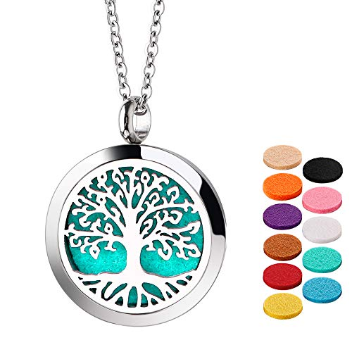 🥇 Essential Oil Necklace Diffuser Necklace Stainless Steel Not Fade Gift Set for Women and Girls