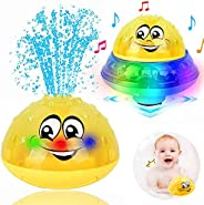 ZHENDUO Bath Toys, 2 in 1 Induction Spray Water Toy & Space UFO Car Toys with LED Light Musical Fountain T