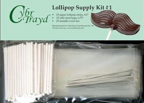 Cybrtrayd 45StK25S 4.5-Inch Lollipop Supply Bundle, Includes 25 4.5-Inch Lollipop Sticks, 25 Silver Twist Ties, 25 Treat Bags and Copyrighted Chocolate Molding Instructions from Cybrtrayd