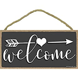 Welcome - 5 x 10 inch Hanging, Wall Art, Decorative Wood Sign Home Decor