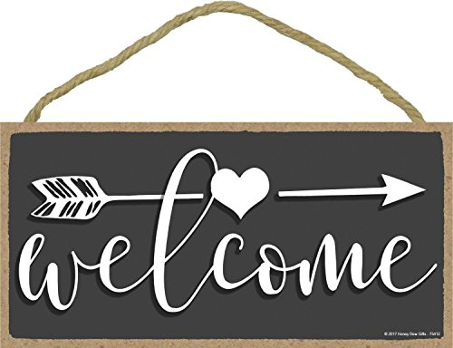 Welcome - 5 x 10 inch Hanging, Wall Art, Decorative Wood Sign Home Decor ()