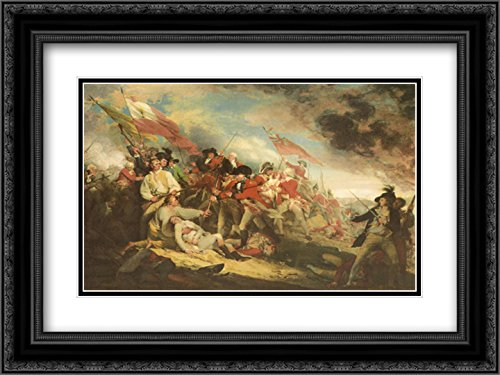 The Death of General Warren at The Battle of Bunker's Hill, 17 June 1775 2X Matted 15x18 Black Ornate Framed Art Print by John Trumbull (June 17 1775 Battle Of Bunker Hill)