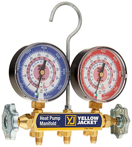 Yellow Jacket 42052 Heat Pump Manifold, R-410A, Degrees F with 3-1/8