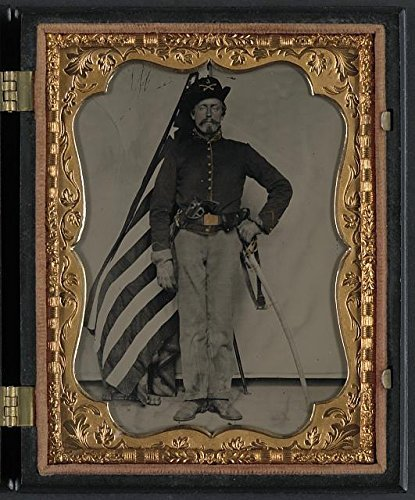 Photo: American Civil War,Unidentified Soldier,Union Cavalry Uniform,Colt Dragoon