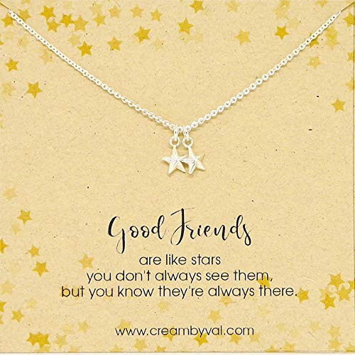 Good Friends Stars Sterling Silver Necklace - 17'' Length