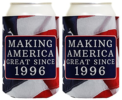 Republican Gifts for 21st Birthday Making America Great Since 1996 21st Birthday Gag Gifts for Republican Party 2 Pack Can Coolie Drink Coolers Coolies USA Flag