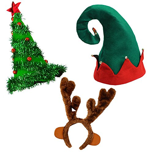 Felt Elf Christmas Hat Light Up Christmas Tree Hat and Reindeer Antlers Headband Christmas Hats