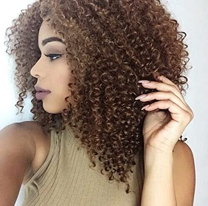 winbowig frontal de encaje marrón rizado Cabello humano pelucas sin pegamento brasileño Virgin Remy Humano Cabello