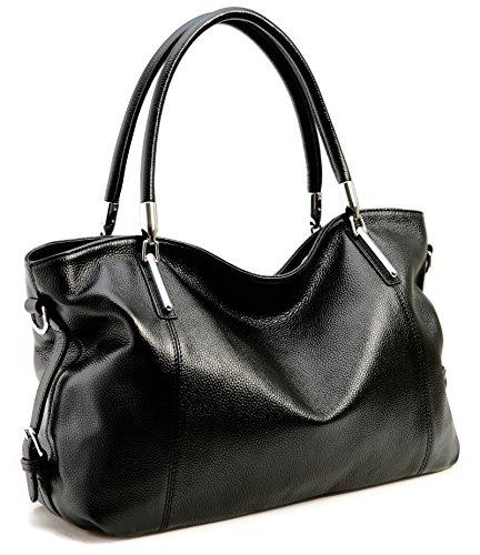 On Clearance! Big Sale! Iswee Women's Genuine Leather Handbag Urban Style Tote Top Handle Shoulder Bag Vintage Satchel Purse (Black-12) ()