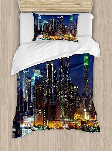 Ambesonne New York Duvet Cover Set, NYC Midtown Skyline in Evening Skyscrapers Metropolis City States Photo, Decorative 2 Piece Bedding Set with 1 Pillow Sham, Twin Size, Royal Blue ()