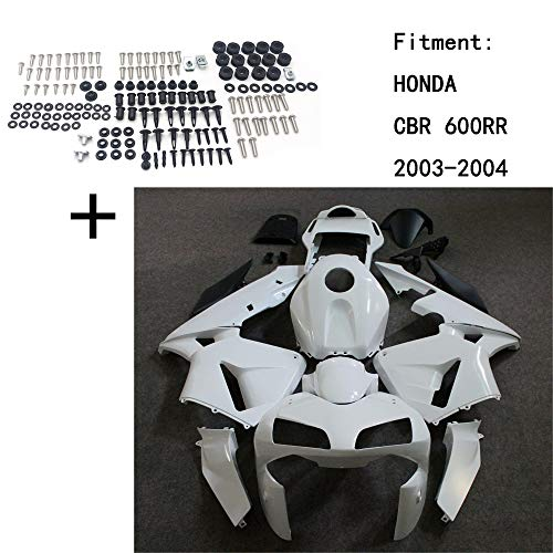 XKMT-Unpainted ABS Body work Fairing Kit w/screw Compatible With HONDA CBR 600RR 2003-2004 INJECTION [B07QJZSQN9]