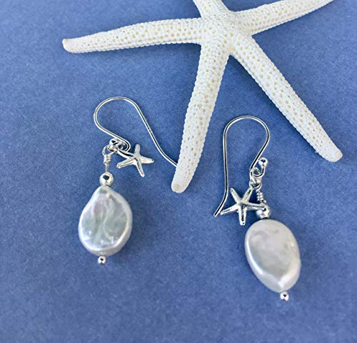 Bridal White Freshwater Coin Pearl Sterling Silver Starfish Charm Earring Dangle Gift Idea For Women