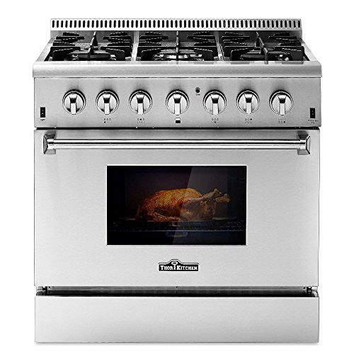 THOR KITCHEN HRD3606U 36inch Free Standing Stainless Steel Gas Range Electric Oven 6 Burner 5.2 Cu. Ft