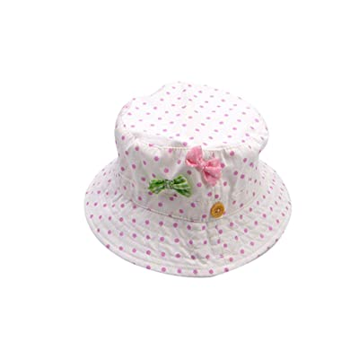 dc281a38 ACVIP Little Girl Polka Dot Bowknot Breathable Sun Protection Bucket Hat