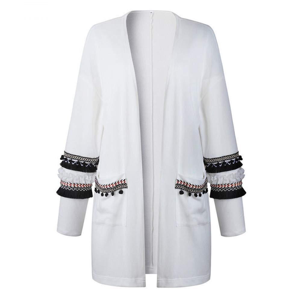 FUHENGMY Pullover Quasten Lose Pullover Mantel Frauen   Herbst Warme Outwear Winter Strickmantel Top Weibliche Lange Strickjacke Langarm