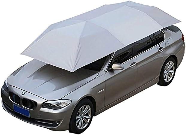 Silver Grey Semi-Automatic Car Hydraulic Pressure Tent Umbrella Foldable Anti-UV Car Movable Carport Sun Shade Canopy Cover Universal