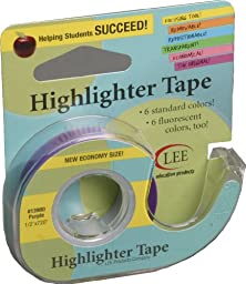 Lee Products Co. 1/2-Inch Wide 720-Inch Long Removable Highlighter Tape, Economy Size with Refillable Dispenser, Purple (13980)