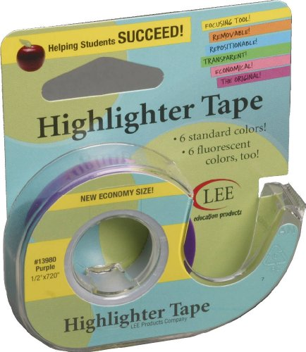 (Lee Products Co. 1/2-Inch Wide 720-Inch Long Removable Highlighter Tape, Economy Size with Refillable Dispenser, Purple (13980))