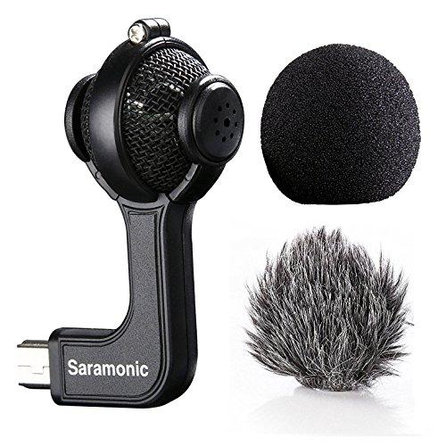 Mic for Gopro,Saramonic G-Mic Stereo Mini USB Microphone with Foam & Furry Windscreens for GoPro HERO3, HERO3+ and HERO4 by Saramonic
